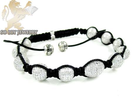 10k White Gold Macramé Faceted Bead Rope Diamond Bracelet 7.86ct