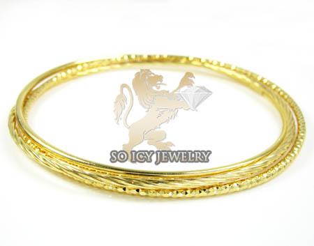 Ladies .925 Yellow Silver Triple Circle Bangle Bracelet