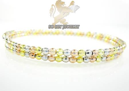 Ladies .925 Tri Color Double Circle Diamond Cut Bead Bangle Bracelet