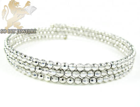 Ladies .925 Silver Triple Circle Diamond Cut Bead Bangle Bracelet