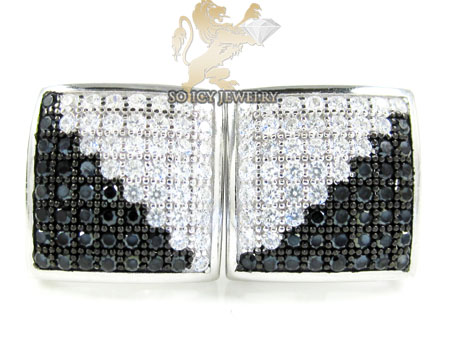 .925 white sterling silver black & white cz earrings 0.75ct