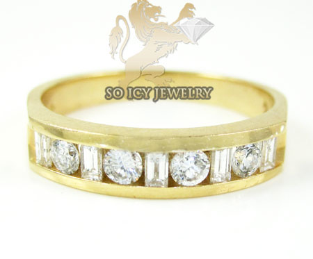 Ladies 14k Yellow Gold Round & Baguette Diamond Ring 1.00ct