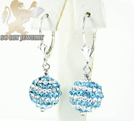 Ladies .925 White Sterling Silver Blue & White Cz Earrings 1.00ct