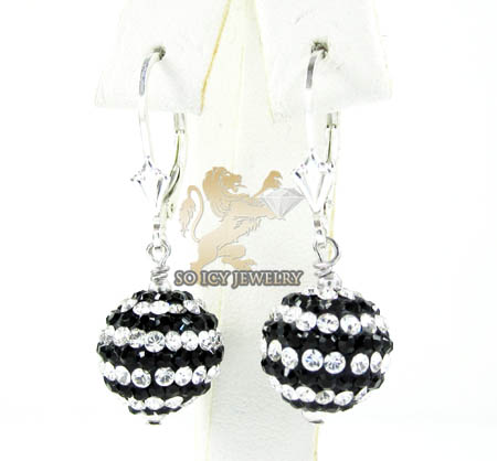 Ladies .925 White Sterling Silver Black & White Cz Earrings 1.00ct
