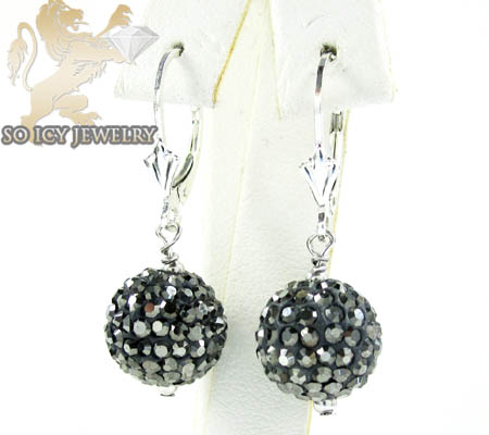 Ladies .925 White Sterling Silver Black Cz Earrings 1.00ct
