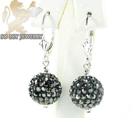 Ladies .925 White Sterling Silver Black Cz Earrings 1.00ct