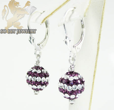 Ladies .925 White Sterling Silver Purple & White Cz Earrings 1.00ct