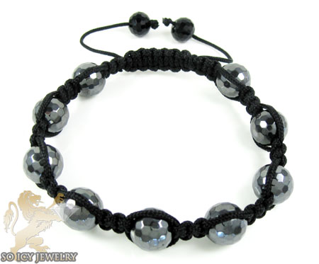 Metallic Macramé Faceted Bead Rope Bracelet