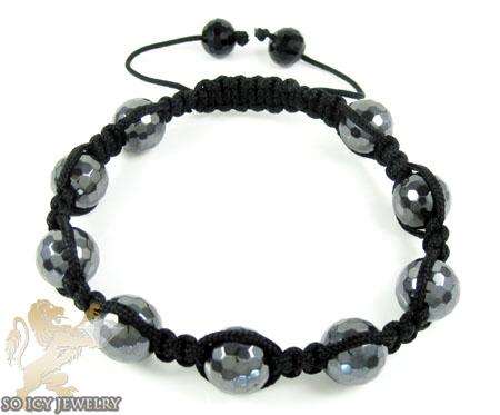 Metallic macramé faceted bead rope bracelet