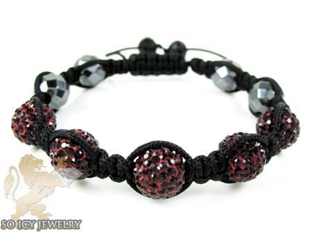 Dark red rhinestone macramé faceted bead rope bracelet 5.00ct