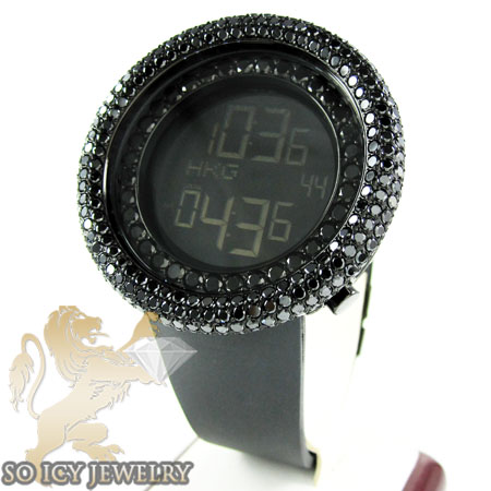 Black Cz Techno Com Kc Digital Full Case Big Bezel Watch 13.00ct