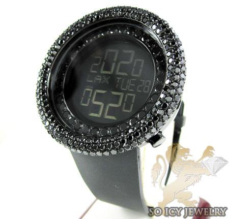 Black cz techno com kc digital big bezel watch 10.00ct