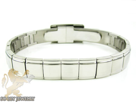 Mens Baraka 18k Gold Screws & White Stainless Steel Bracelet