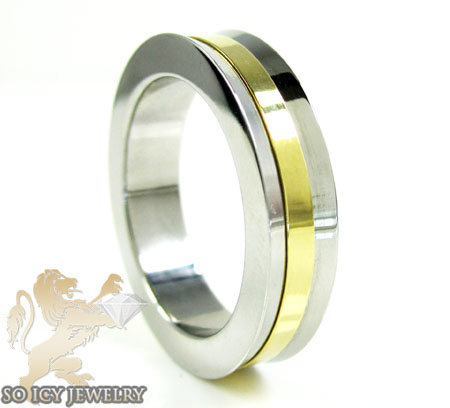 Mens Baraka Yellow & White Stainless Steel Ring