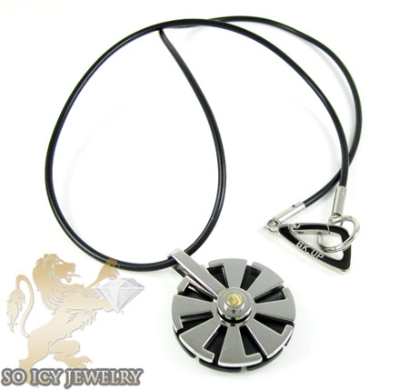Mens Baraka 18k Yellow Gold & Stainless Steel Wheel Necklace
