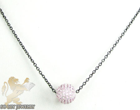 Black Sterling Silver Pink Cz Bead Chain 1.75ct