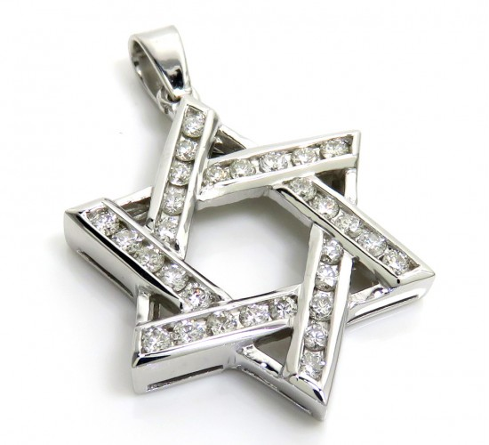 14k white gold diamond star of david pendant 1.04ct