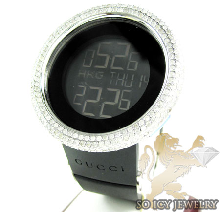 c8608a2099f Mens Diamond IGucci Digital Big Bezel White Stainless Steel Watch ...