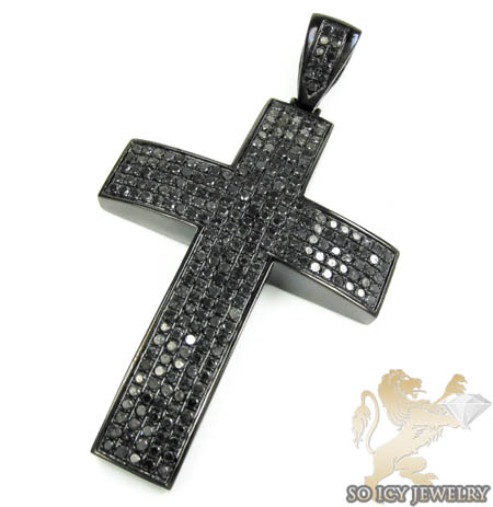 Mens black sterling silver black diamond cross 12.01ct