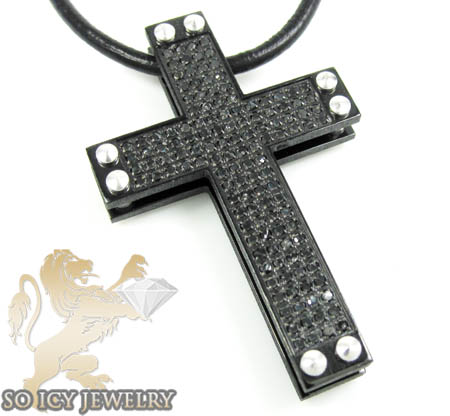 Black Stainless Steel Black Diamond Cross 0.90ct