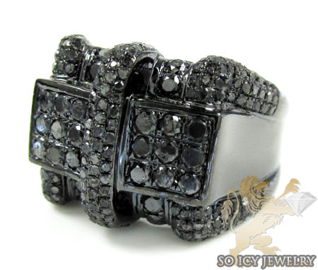 Black Sterling Silver Diamond Fashion Ring 2.86ct