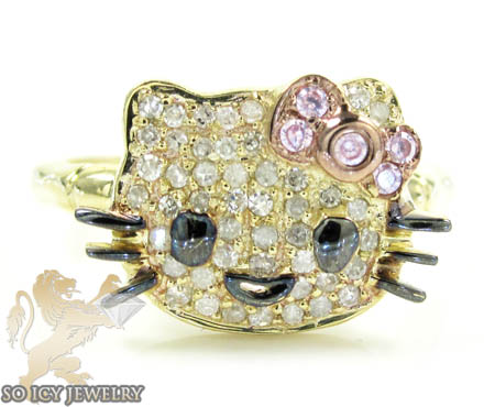 Ladies 10k Yellow Gold Hello Kitty Diamond Ring 0.25ct