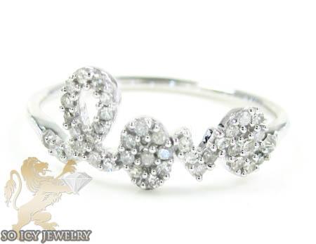 Ladies 10k White Gold Diamond Love Ring 0.20ct