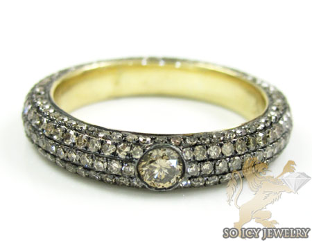 14k Yellow Gold Champagne Diamond Wedding Band 1.75ct
