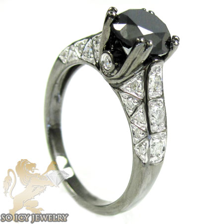 Ladies 10k Black Gold Diamond Engagement Ring 2.37ct