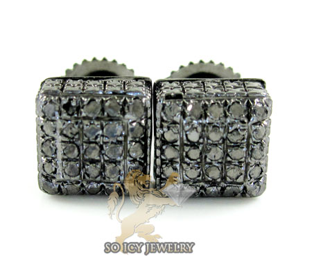 .925 Black Sterling Silver Diamond 3d Ice Cube Earrings 0.35ct