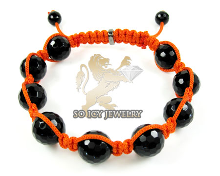 Macramé Black Onyx Faceted Bead Orange Rope Bracelet
