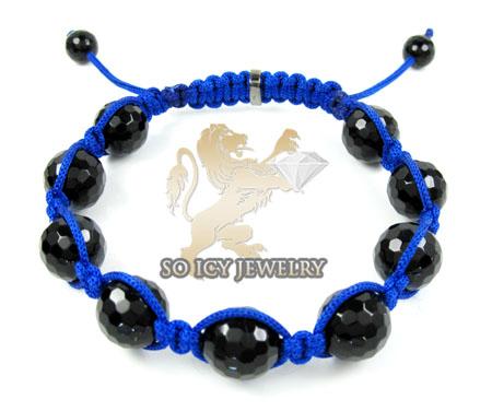 Macramé black onyx faceted bead blue rope bracelet