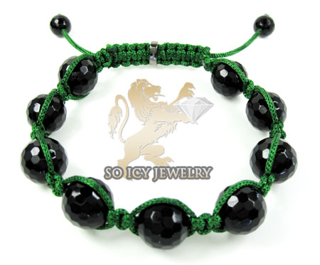 Macramé black onyx faceted bead green rope bracelet