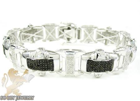 White Sterling Silver Black & White Diamond Bracelet 3.00ct