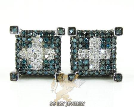 14k white gold blue & white diamond cube earrings 1.00ct
