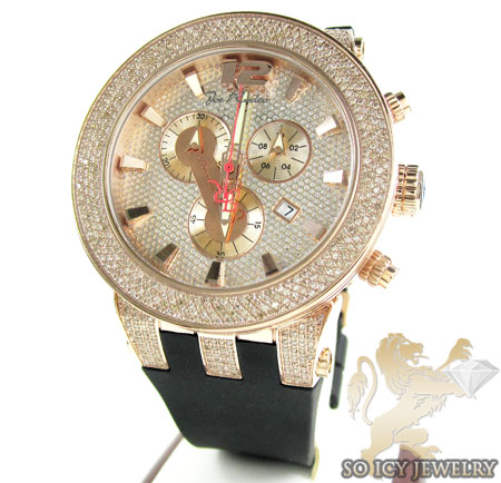 Mens Joe Rodeo Rose Stainless Steel Broadway Diamond Watch 5.00ct
