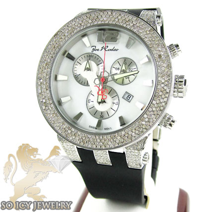 Mens Joe Rodeo White Stainless Steel Broadway Diamond Watch 5.00ct