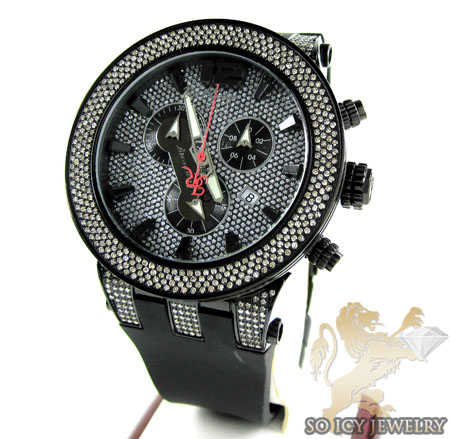 Mens Joe Rodeo Black Stainless Steel Broadway Diamond Watch 5.00ct