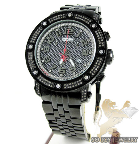 Mens Joe Rodeo Black Stainless Steel Apollo Diamond Watch 1.70ct