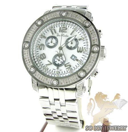Mens joe rodeo white stainless steel apollo diamond watch 1.70ct