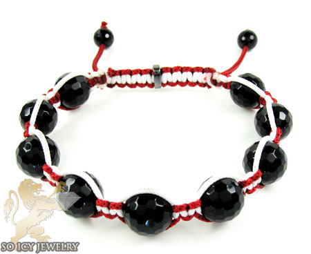 Macramé Black Onyx Faceted Bead Red & White Rope Bracelet