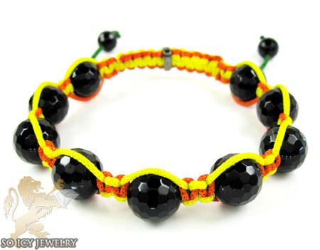 Macramé Black Onyx Faceted Bead Yellow & Orange Rope Bracelet