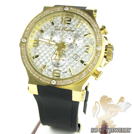 Mens Joe Rodeo Yellow Stainless Steel Phantom Diamond Watch 2.25ct