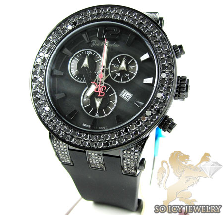 Mens Joe Rodeo Black Stainless Steel Broadway Diamond Watch 6.50ct