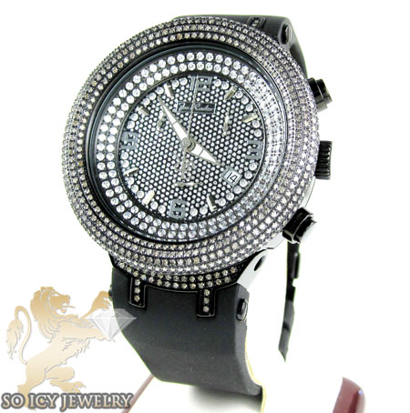 Mens Joe Rodeo Black Stainless Steel Master Diamond Watch 6.50ct