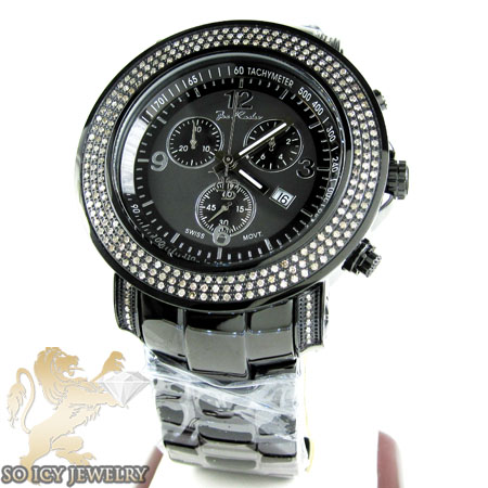 Mens Joe Rodeo Black Stainless Steel Junior Diamond Watch 2.50CT