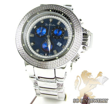 Mens Joe Rodeo White Stainless Steel Razor Diamond Watch 4.00ct