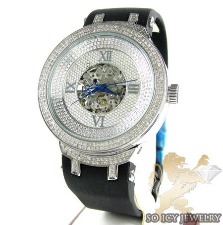 Mens Joe Rodeo White Stainless Steel Master Diamond Watch 2.20CT
