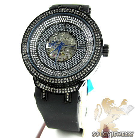 Mens joe rodeo black stainless steel master diamond watch 2.20ct
