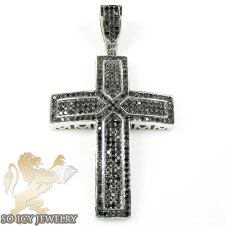 10k White Gold Black Diamond Cross 1.35ct